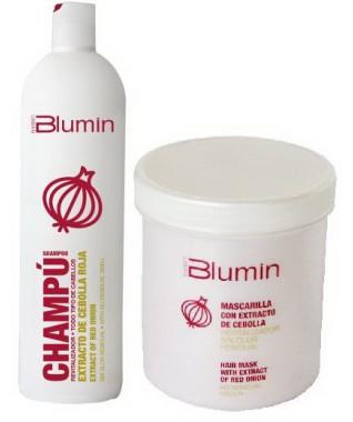 Raudonųjų svogūnų šampūnas skatinantis plaukų augimą 1000 ml + Blumin atkuriamoji plaukų kaukė su raudonojo svogūno ekstraktu 700 ml