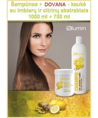 Šampūnas BLUMIN su imbierų ir citrinų ekstraktais 1000 ml + DOVANA - Kaukė BLUMIN su imbierų ir citrinų ekstraktais 700 ml