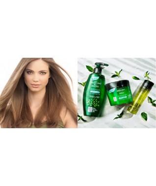 Biologinė maitinamoji kaukė 200ml + šampūnas 250ml +  skystieji kristalai 50ml normaliems ir ploniems plaukams 98% naturalios medžiagos