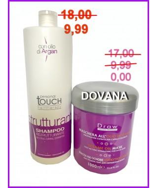 PERSONAL TOUCH  Hairtherapy - Šampūnas atstatantis plaukus 1000 ml + DOVANA - Kaukė su sezamo aliejumi sausiems ir itin pažeistiems plaukams 1000 ml