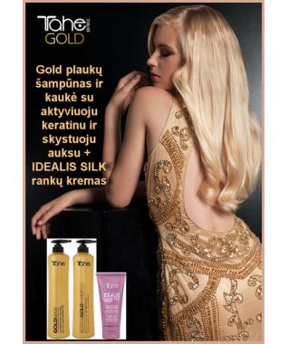 Gold plaukų šampūnas + kaukė  su aktyviuoju keratinu ir skystuoju auksu 800 ml +800ml + IDEALIS SILK rankų kremas 75 ML